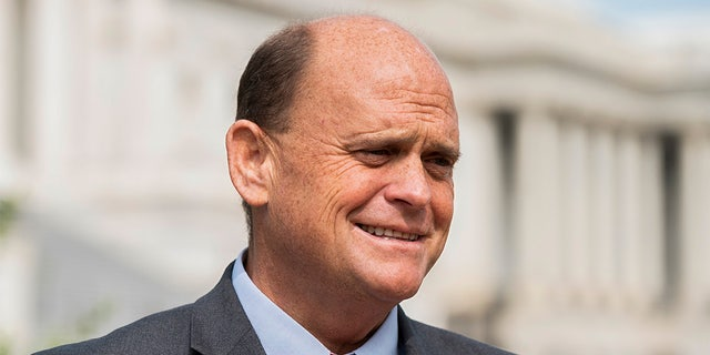 UNITED STATES - SEPTEMBER 15: Rep. Tom Reed, R-N.Y., co-chair of the Problem Solvers Caucus, arrives at the House Triangle outisde the Capitol for a press conference on Tuesday, Sept. 15, 2020. (Photo By Bill Clark/CQ-Roll Call, Inc via Getty Images)