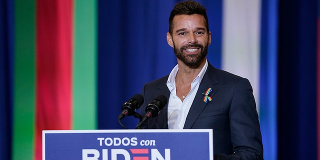 Singer Ricky Martin speaks during a Hispanic heritage event with Democratic presidential nominee and former Vice President Joe Biden at Osceola Heritage Park on Sept. 15, 2020, in Kissimmee, Fla.