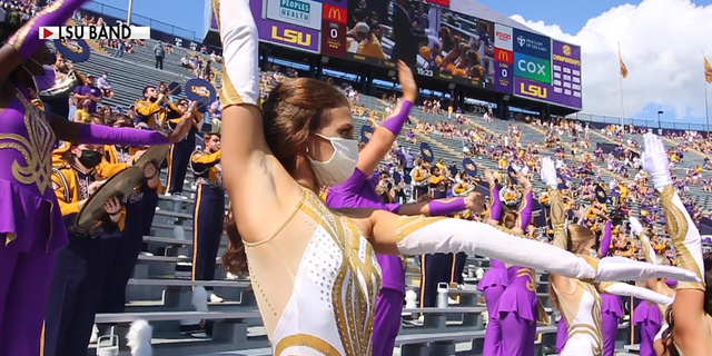 The Louisiana State University marching band during a football game after the coronavirus pandemic began (Source/Louisiana State University)
