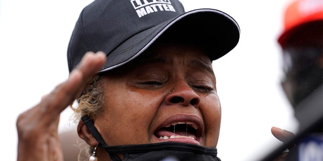 Marcellis Stinnette's grand mother Sherrellis Stinnette speaks during protest rally for Marcellis Stinnette who killed by Waukegan Police Tuesday in Waukegan, Ill., Thursday, Oct. 22, 2020. (AP Photo/Nam Y. Huh)