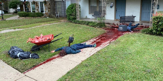 Steven Novak's East Dallas property looks like a truly haunted home with bloody, butchered dummies decorating his roof, front stoop, sidewalk and lawn.