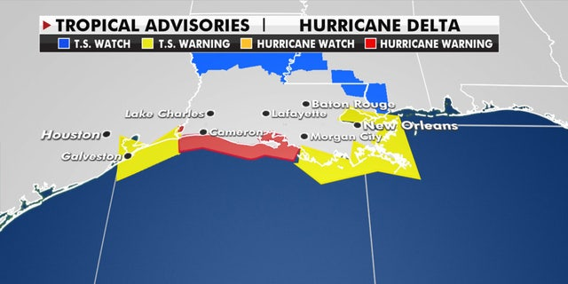 Hurricane and tropical storm warnings have been posted along the Gulf Coast as Hurricane Delta approaches.