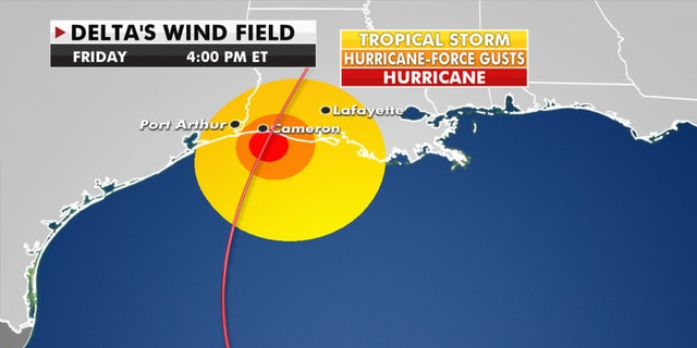 The anticipated wind field of Hurricane Delta.
