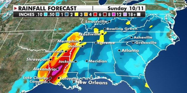 Anticipated rainfall from Hurricane Delta.