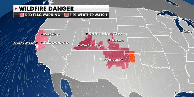 Gusty winds and warm air to the south are fueling the risk of wildfires out West.