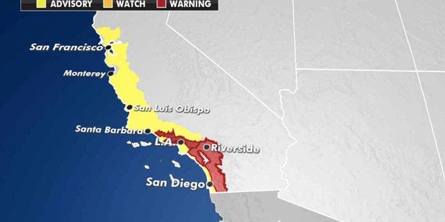 Heat warnings and heat advisories stretch along the California coast on Thursday, Oct. 1, 2020.