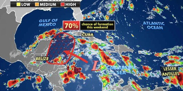 An area in the Caribbean is being monitored for possible tropical development by the weekend.