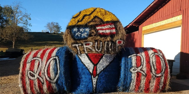 Adrian Powell, of Red Boiling Springs, rolled out a unique show of support on a hay bale over the weekend.