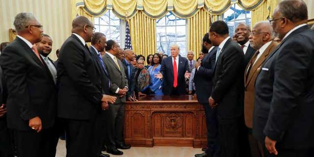 President Donald J. Trump welcomes the presidents of Historically Black Colleges and Universities to the Oval Office – February 27, 2017. Photo: The White House.
