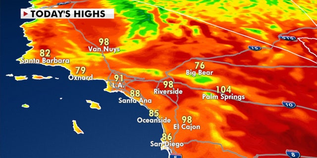 Forecast high temperatures in Southern California for Tuesday, Oct. 13, 2020.
