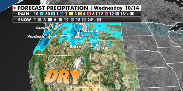 More rain and mountain snow for the Pacific Northwest on Tuesday, Oct. 13, 2020.