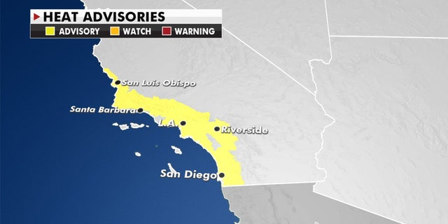 Heat advisories stretch across Southern California on Tuesday, Oct. 13, 2020.