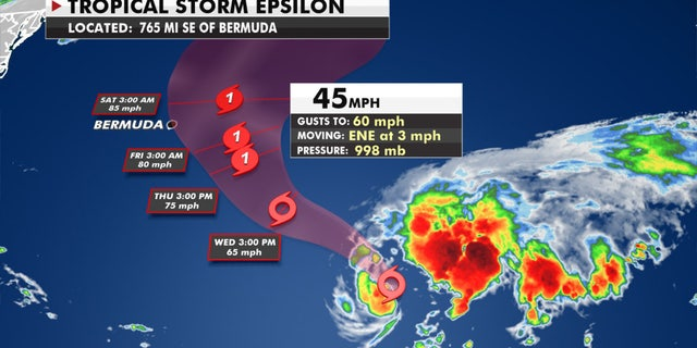 The forecast track of Tropical Storm Epsilon.