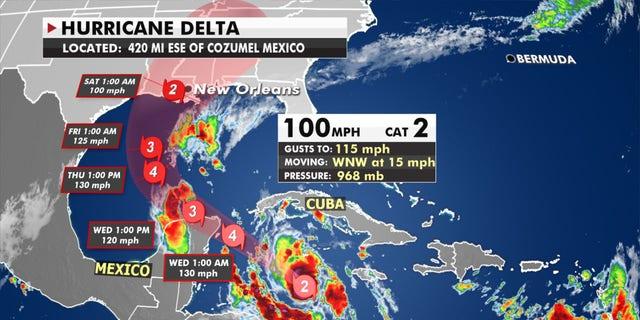 The forecast track of Hurricane Delta