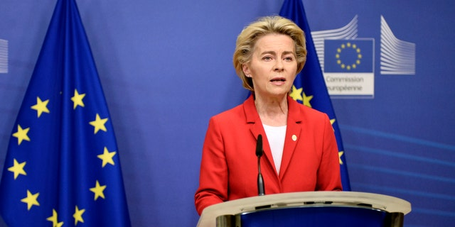 European Commission President Ursula von der Leyen makes a statement regarding the Withdrawal Agreement at EU headquarters in Brussels on Thursday. (AP/Pool)