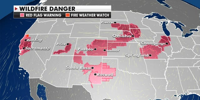 Areas at risk of fire danger for Wednesday, Oct. 14, 2020.