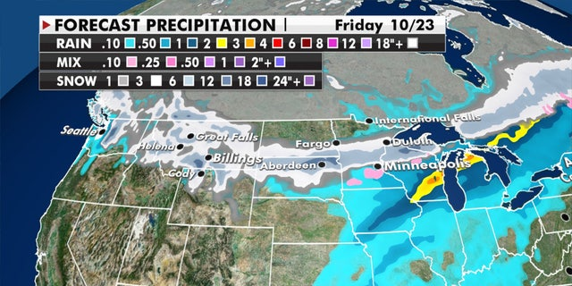 Forecast snow accumulations through Friday.