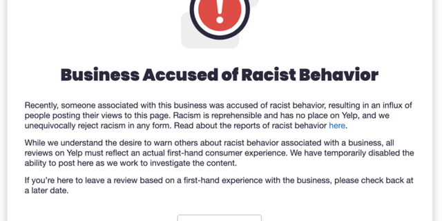 Yelp's new alert notifies customers that a business has been accused of racist behavior. (Yelp).