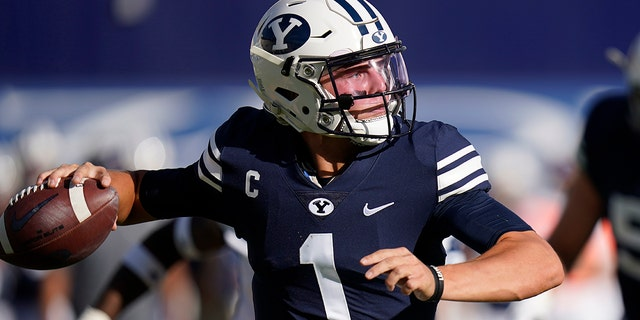 BYU quarterback Zach Wilson (1) throws downfield against UTSA in the second half during an NCAA college football game Saturday, Oct. 10, 2020, in Provo, Utah. (AP Photo/Rick Bowmer, Pool)