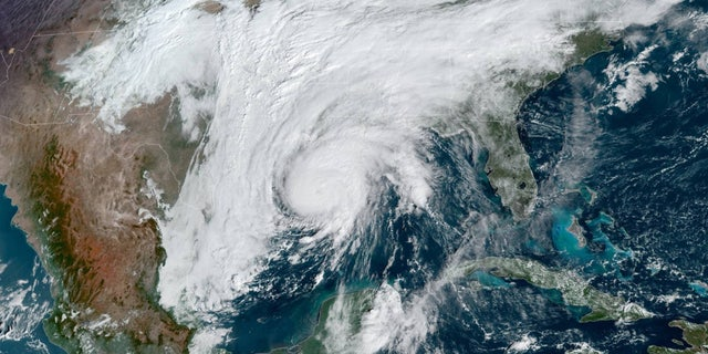 Hurricane Zeta can be seen over the Gulf of Mexico on Wednesday, Oct. 28, 2020.