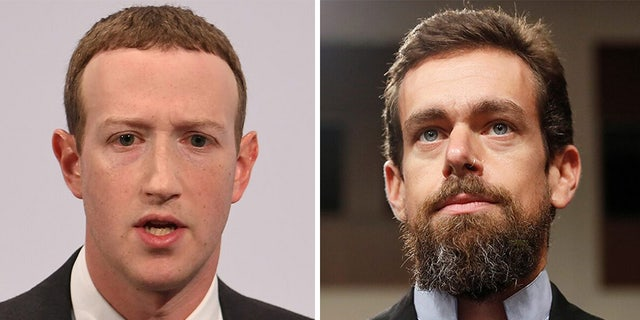Facebook CEO Mark Zuckerberg (left) and Twitter CEO Jack Dorsey with testify before a Senate committee this week.