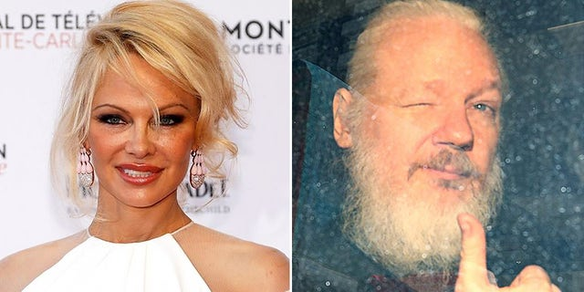 Pamela Anderson and WikiLeaks founder Julian Assange, pictured after his 2019 arrest in London. REUTERS/Hannah McKay
