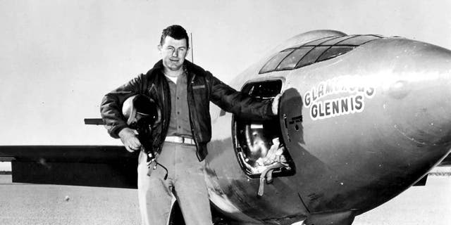 USAF Capt. Charles E. Yeager (shown standing with the Bell X-1 supersonic rocket plane) became the first man to fly faster than the speed of sound in level flight on Oct. 14, 1947. (Image credit: United States Air Force Archive)