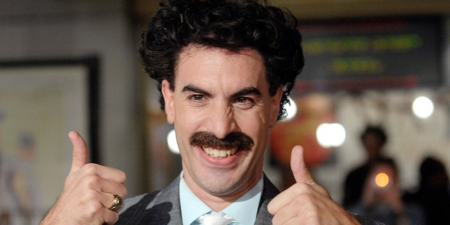 """Actor Sacha Baron Cohen, who played the character Borat, arrives for the U.S. premiere of """"Borat: Cultural Learnings of America for Make Benefit the Glorious Nation of Kazakhstan"""" at the Grauman's Chinese Theatre in Hollywood, Oct. 23, 2006. (REUTERS/Phil McCarten/File Photo)"""