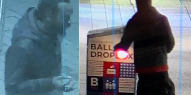 The Boston Police Department released two photos showing someone allegedly igniting the fire inside the ballot box outside the main branch of the Boston Public Library in Copley Square.