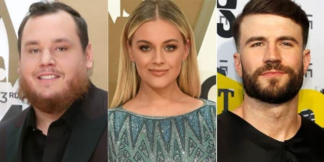 Luke Combs (left), Kelsea Ballerini (center) and Sam Hunt (right) are among the six artists to lead the nominations with three nods each.
