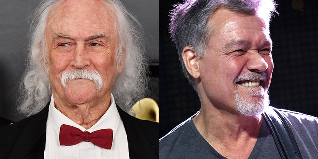 David Crosby, left, took a negative reaction to the tweets he sent after Eddie Van Halen's death.