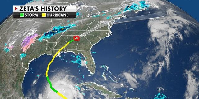 The path of Hurricane Zeta.