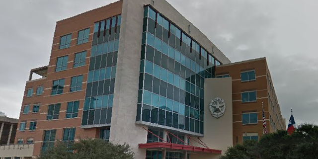 The exterior of the Dallas Police Department headquarters was vandalized Thursday night. (Google Maps)