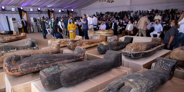 Ancient coffins are displayed at the Saqqara archaeological site, 19 miles south of Cairo, Egypt on Saturday, Oct. 3, 2020.