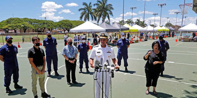In this Aug. 27, photo U.S. Surgeon General Vice Adm. Jerome Adams speaks during a press conference on the second day of surge COVID-19 testing, at Kalakaua District Park in Honolulu. (Jamm Aquino/Honolulu Star-Advertiser via AP,File)