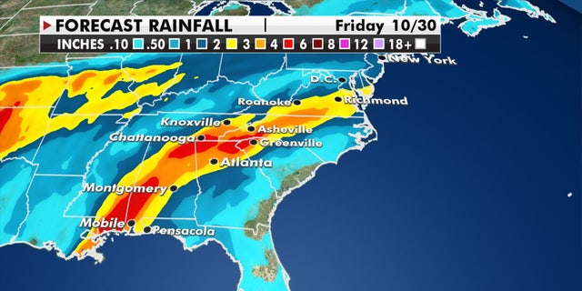 Potential rain amounts through Friday after Zeta makes landfall along the Gulf Coast.