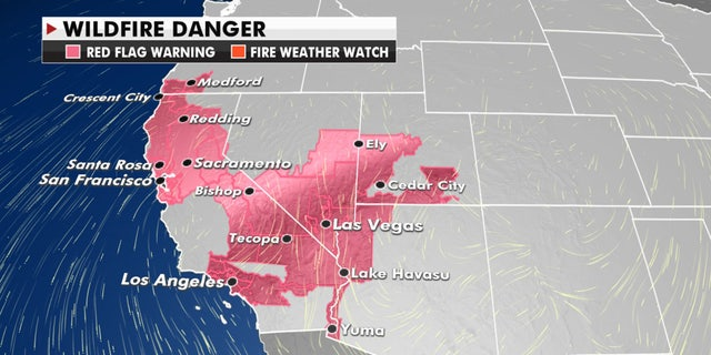Fire flag warnings stretch through the West and California on Monday due to critical to extreme fire danger.