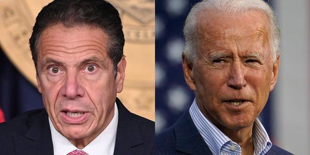 New York Governor Andrew Cuomo, left, and President Biden.