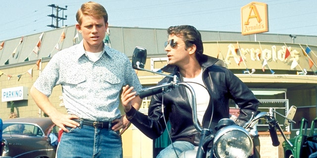 Pictured: Ron Howard (Richie) and Henry Winkler (Fonzie) in 'Happy Days.' The showran on ABC from 1974 to1984.