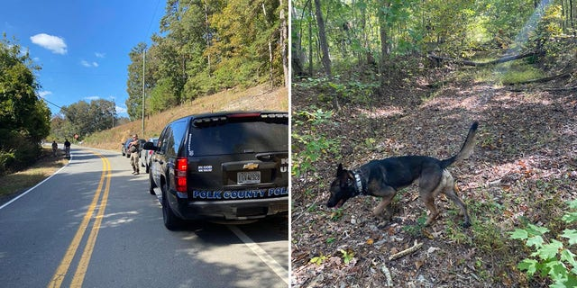 Police investigators and a K-9 unit searched the woods near a highway for Blackmon on Oct. 20, two days after his wife was found shot dead in their home.