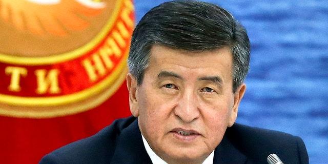 Kyrgyzstan's President Sooronbai Jeenbekov speaks at the Eurasian Economic Union Intergovernmental Council in Cholpon-Ata, Kyrgyzstan, Aug. 9, 2019. (Associated Press)