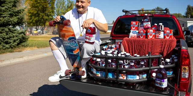 TikTok star Nathan Apodaca poses after being gifted a truck by Ocean Spray on Oct. 6, 2020 in Idaho Falls, Idaho. (Getty Images)