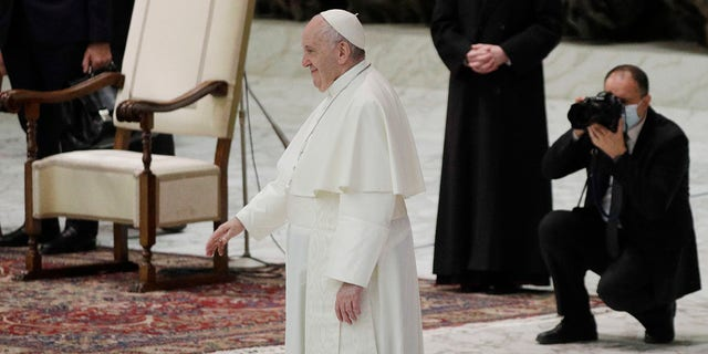 """Pope Francis endorsed same-sex civil unions for the first time as pope while being interviewed for the feature-length documentary """"Francesco,"""" which premiered Wednesday at the Rome Film Festival. (AP Photo/Gregorio Borgia)"""