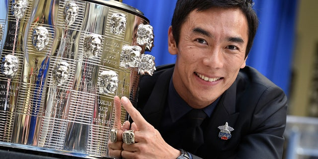 Sato's face is already on the trophy marking his 2017 win.