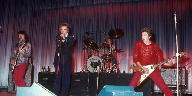 The Sex Pistols' original lineup (l. to r.) with Glen Matlock, Johnny Rotten, Paul Cook, and Steve Jones. (Chris Morphet/Redferns)