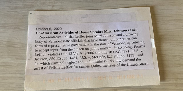 Postcard to Vermont state Rep. Felisha Leffler (Photos: Felisha Leffler)