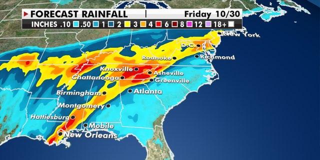 Forecast rainfall amounts of Hurricane Zeta.