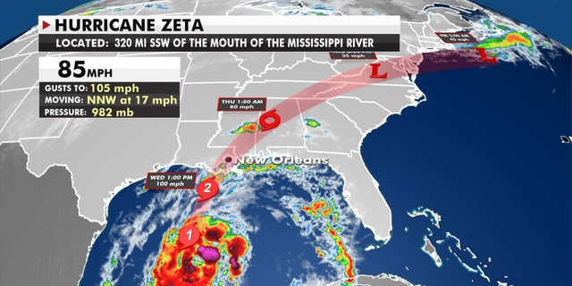 The forecast track of Hurricane Zeta.