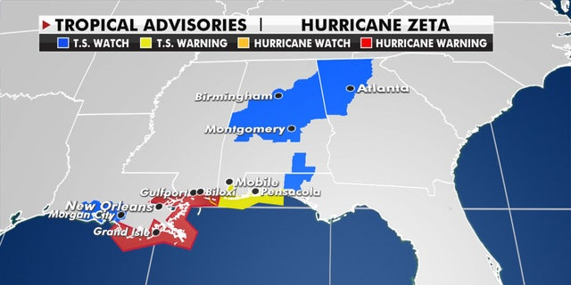 Hurricane and tropical storm warnings as Hurricane Zeta approaches the Gulf Coast.