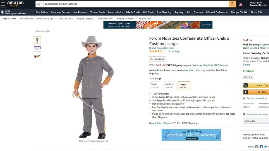 Amazon still selling kids' Confederate soldier costume that Party City pulled